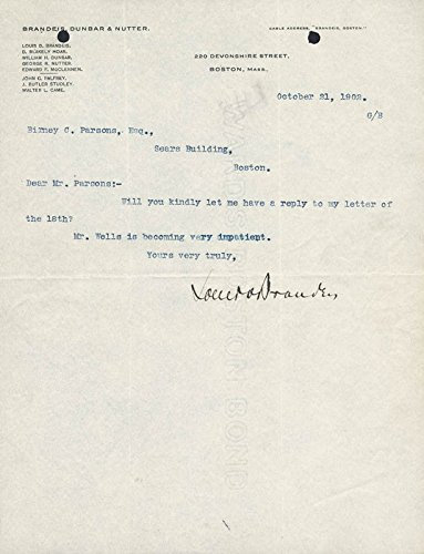 Associate Justice Louis D. Brandeis Typed Letter Signed 10/21/1902