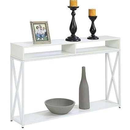 Excellent Amazon Com Narrow Console Table White Storage Shelf Entry Dailytribune Chair Design For Home Dailytribuneorg