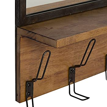 Kate and Laurel Coburn Distressed Metal Mirror with Wood Shelf and Hooks, Black