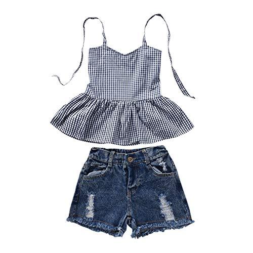 Toddler Baby Girl Plaid Halter Ruffled Outfits Set Strap Crop Tops+ Denim Ripped Shorts Pants 2 PCS Clothes Set (Denim Plaid, 2-3 Years) ()