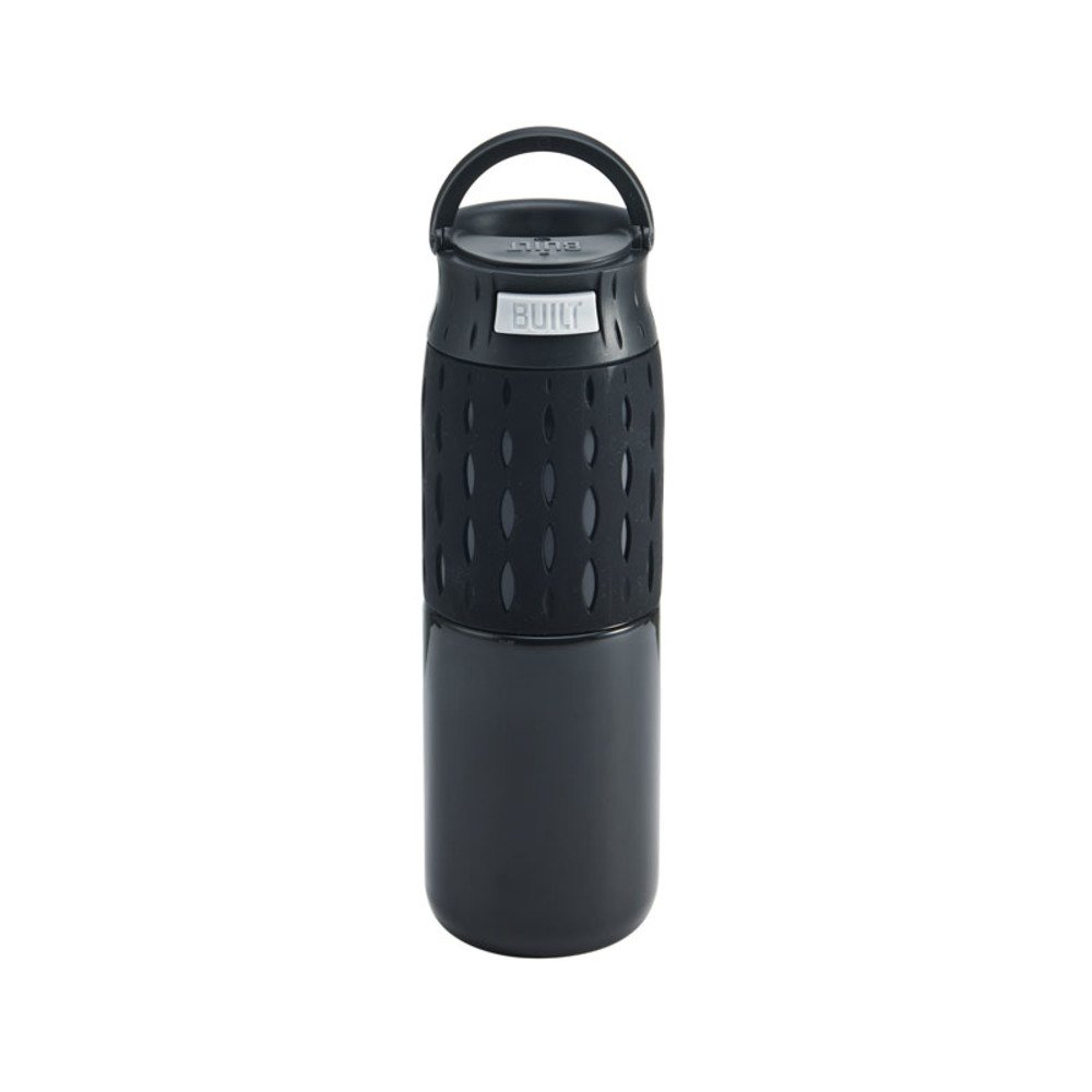 Built NY 5197082 Touch Double Wall Stainless Steel Push-to-Drink Travel Coffee Mug with 'Perfect Seal' Technology, 16-Ounce, Black