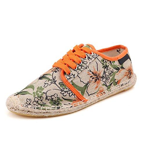 Unisex Breathable Canvas Shoes Slip-on Espadrilles Loafers Flats Shoes for Women Men (US Size 5-12) Flower Orange