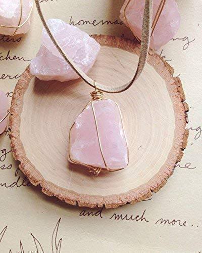 Raw Rose Quartz Crystal Necklace on Tan Cord