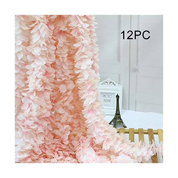 Homcomoda 12PC Artificial Silk Hydrangea Flower Hanging Wisteria Cattleya Vine Garland Each 200 Flower Spray Arrangements for Wedding Wreath Home Garden Party Decor (Light Pink)