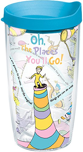 Tervis 1131379 Dr. Seuss - Oh the Places You'll Go Tumbler with Wrap and Turquoise Lid 16oz, Clear