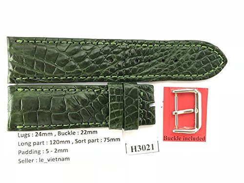 24mm/22mm GREEN Genuine Crocodile Leather Skin Watch Strap Band Men HANDMADE H3021 (Green Crocodile Leather Watch)