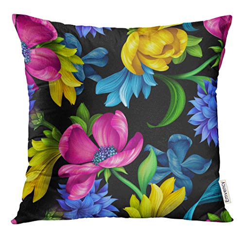 Cornflower Blue Natural - VANMI Throw Pillow Cover Botanical Floral Natural Pink Yellow Tulip Blue Cornflower Green Leaves Wild Flowers Colorful Design Decorative Pillow Case Home Decor Square 18x18 Inches Pillowcase