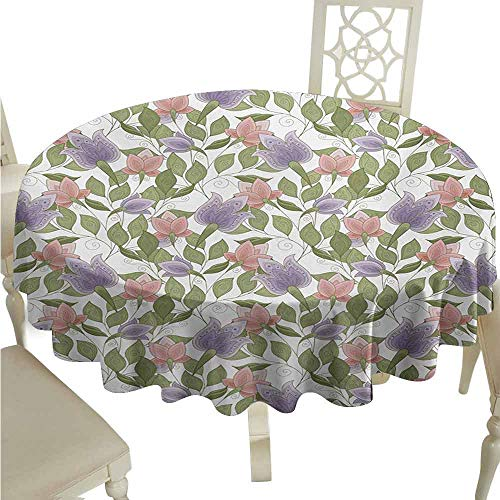 duommhome Floral Durable Tablecloth Pastel Tone Tulip Flower Aged Ottoman National Symbol Petals Image Easy Care D43 Coral Lilac and Olive Green ()