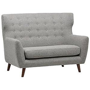 Marque Amazon –Rivet Hawthorne – Divan moderne style vintage à finition capitonnée, largeur 144,8cm, Argenté