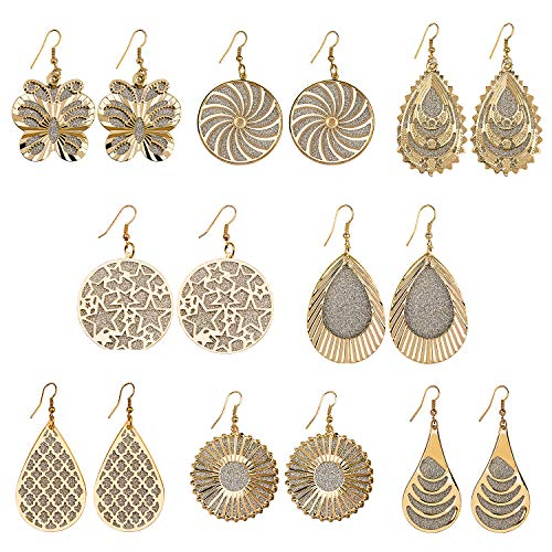 (8 Pairs Women's Girl's Fashion Earrings Double-layer Hollow Frosted Teardrop Round Retro Style Earrings Golden)