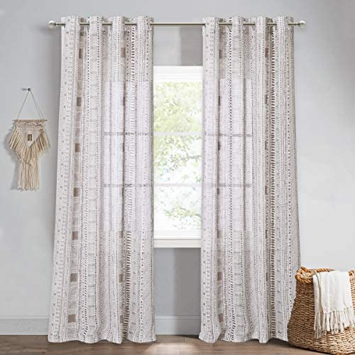 StangH Farmhouse Sheer Curtains 84 inches – Boho Geometric Printed Linen Textured Long Semi Sheer Curtain Panels Light Airy Privacy Sheer for Sun Room Living Room, Taupe, W50 x L84, 2 Panels
