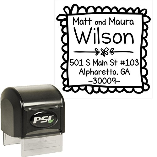 Doodle Frame Custom Personalized Self Inking Return Address Stamp - Great Wedding, Housewarming, Teacher or Christmas Gift