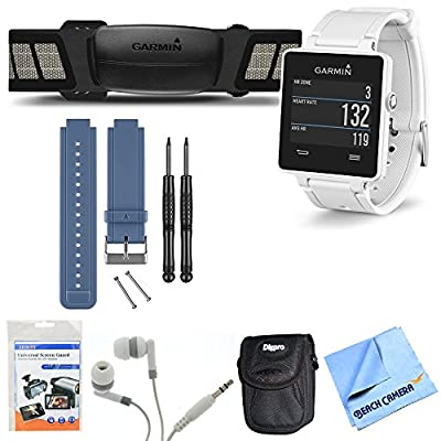 Garmin vivoactive White GPS Smartwatch with HRM & Blue Band Bundle Includes GPS Smartwatch, HRM, Blue Replacement Band, Screen Protectors, Headphones, Carrying Case and Micro Fiber Cloth