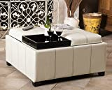 Furniture of Home Leather Storage Ottoman Square White Coffee Table with 4 Trays Large Footstool
