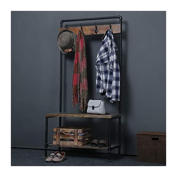 WGX Design For You Industrial Coat Rack Shoe Bench, Hall Tree Entryway Storage Shelf, Solid Wood with Pipe Frame - 【Retro Style】:Industrial style solid wood and pipe 【Multi-functional】:Beautiful and practical .You can use it wherever you want. 【Size】:Total height:63in*31.5in*12.5in - hall-trees, entryway-furniture-decor, entryway-laundry-room - 518muTDp9%2BL. SS570  -