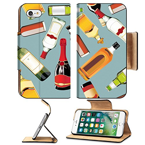 Liili Apple iPhone 7 Pu Leather Flip Case Seamless Pattern of different drinks and bottles iPhone7 Plus Image ID 22894312