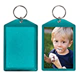 Translucent Sparkle Photo Keychain - 24 Pack (Teal)