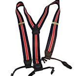 Hold-Ups Navy Blue with Red and White Striped Dual Clip Double-up Style Suspenders
