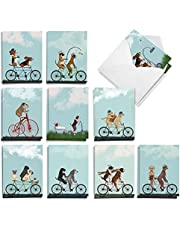 The Best Card Company Bike Chaser Pups - 20 Assorted Boxed All Occasions Note Cards with Envelopes (4 x 5.12 Inch) - AM8847OCB-B2x10