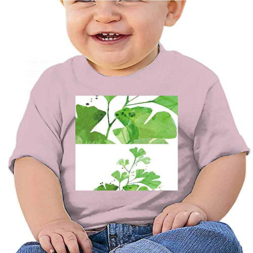 Cute Short Sleeve Clothes A Branch with Green Leaves on White Background -2 Tee Tops Summer