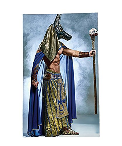 Interestlee Fleece Throw Blanket Egyptian Decor Collection Ancient Egyptian Pharaoh with a Mask of Anubis Foggy Background Print Olive Green Blue