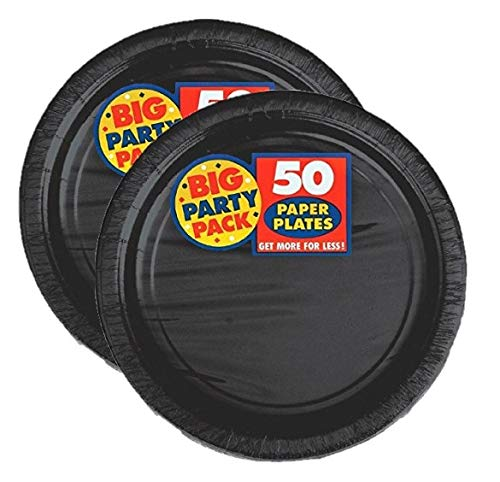 Amscan Big Party Pack Paper Luncheon Plates 7-Inch, 100/Pkg, Black