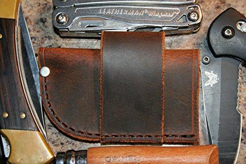 Buffalo Leather Knife Sheath - Universal - Fits Leatherman Gerber Multi Tools, Pocket Knives