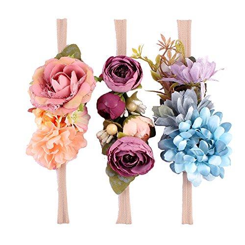 Crown Tie (Tieback Flower Crown Elastic Flower Headband Baby Girl Floral Crown Wreath Newborn Hair Accessories (3 Colors Pack - D))
