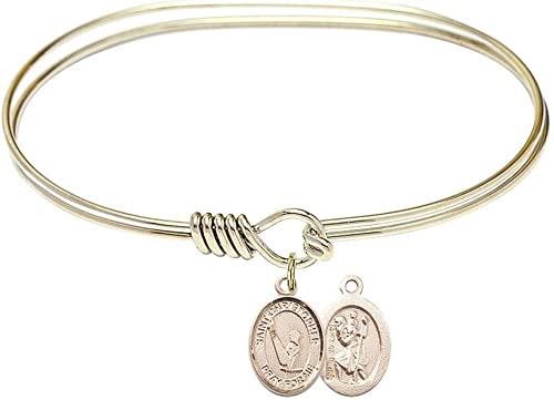 Christopher Gymnastics Charm On A 7 Inch Oval Eye Hook Bangle Bracelet St