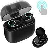 Wireless Earbuds | Bluetooth 4.2 Earphones TWS Touch Control Mini In-Ear Headsets with Mic, Stereo Sports Gym Running Sweatproof Earphone with 1000mAh Charging Box, for iPhone & Android (Black-I8X)