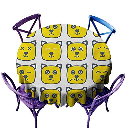 Zodel Round Outdoor Tablecloth,Emoji Cat Dog Like Animal Smiley Face with Expressions Angry Happy Sad Fancy Moods Art,Modern Minimalist,63 INCH,Yellow and Grey