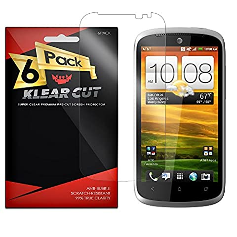 Klear Cut [6 Pack] Screen Protector for HTC One VX – Lifetime Replacement Warranty - Anti-Bubble & Anti-Fingerprint High Definition (HD) Clear Premium PET Cover – Retail (Screen Protector Htc One Vx)