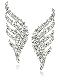 XPY Sterling Silver Created White Sapphire Winged Climber Ear Cuffs