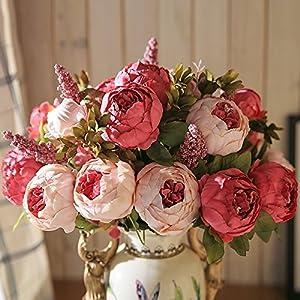 13 Branch/Bouquet Artificial Flowers Peony Vivid Flores Artificiales Fake Silk Rose Bridal Wedding Decor Wreath Gland Home 118