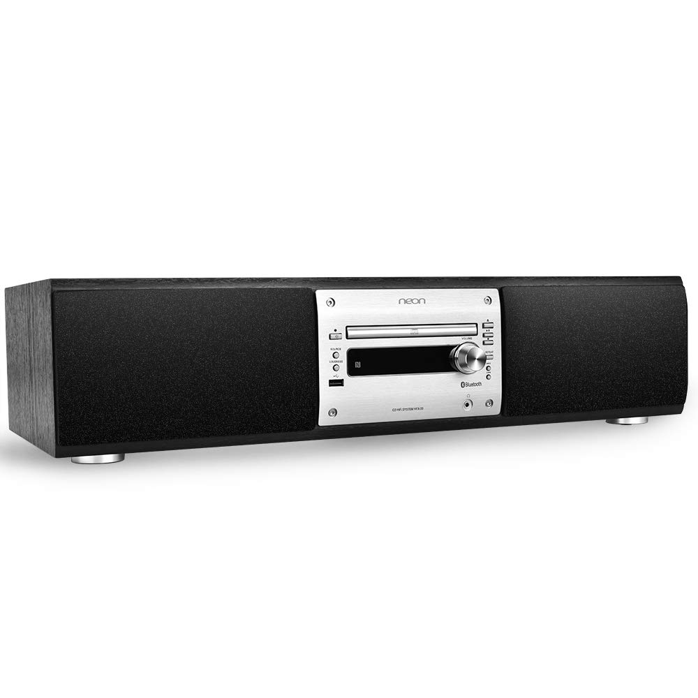 neon CD Players Home Stereo, Hi-Fi Stereo System, Component Music Shelf System with NFC Bluetooth, Remote Control, Headphone Jack, USB, FM Radio, Time/Clock Setting Function, HFX-50