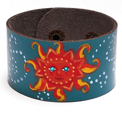 Hand Painted Celestial Sun Face Blue Leather Boho Cuff Bracelet with Swarovski Crystal Rhinestones ()