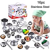 TANGON 16 Pcs Kitchen Pretent Play Toys, Stainless Steel Play House Kitchen Toys Cookware Cooking...