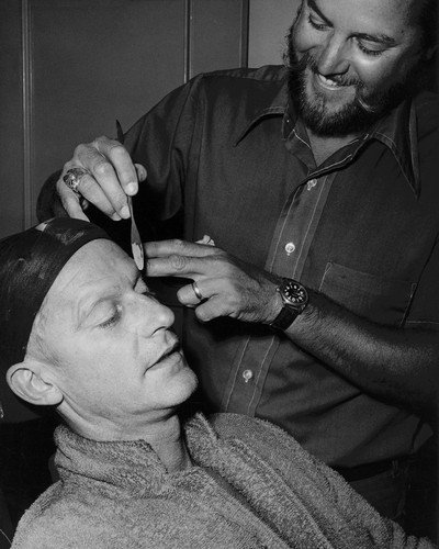 Planet of the Apes Roddy McDowall in make up chair with artist 11x14 HD Aluminum Wall Art