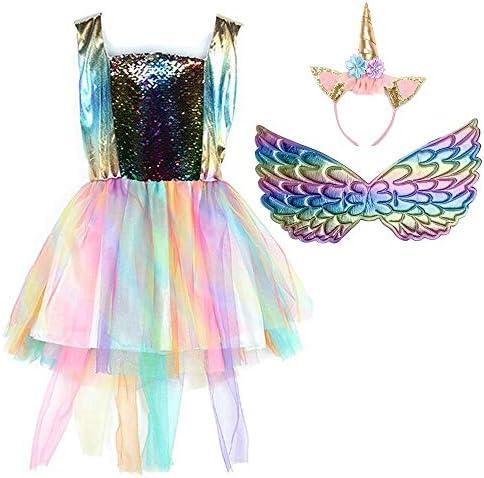 MOLFROA Girls Unicorn Costume Tutu Dresses Girl Rainbow Dress with Headband Gold Wing