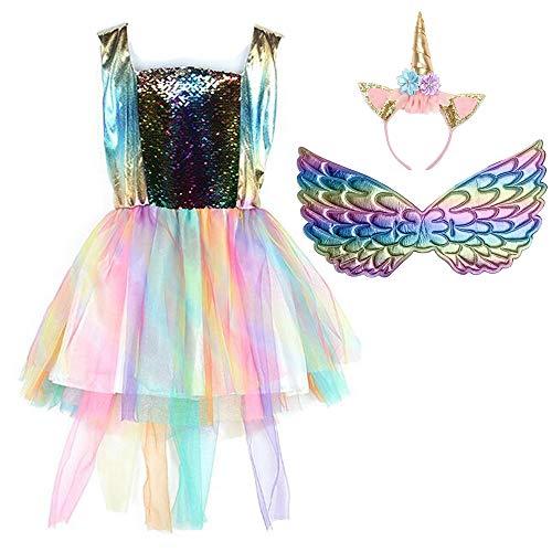 (Girls Unicorn Mesh Tulle Tutu Dresses Rainbow Costume with Unicorn Headband Wings Set for Birthday Theme Party Cosplay (L, Gold))