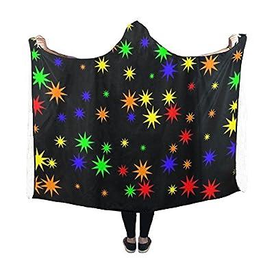 Jnseff Hooded Blanket Stars Pattern Seamless Star Blanket 60x50 Inch Comfotable Hooded Throw Wrap