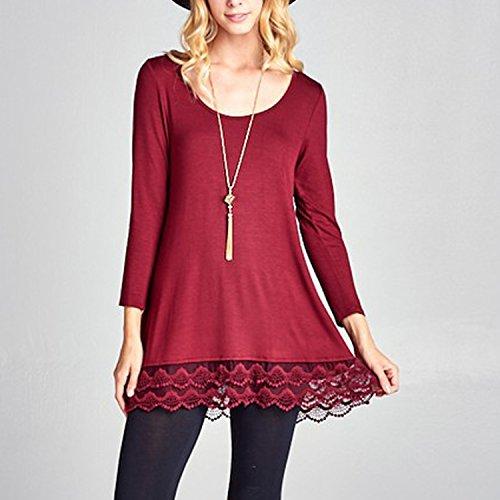 Haut Casual Uni Manche Longue Printemps Bureau Longue semen Pullover Mode Top Loose Dentelle T Femme Bordeaux Lace Shirt Mi Blouse 1xz1aOPRwq