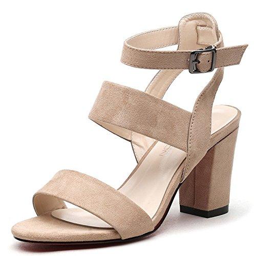 Jqdyl Tacones Nuevas Sandalias Femeninas Zapatos de Verano Palabra Hebilla Sandalias Femeninas Gruesas con Zapatos de Punta Abierta Zapatos de Mujer Beige