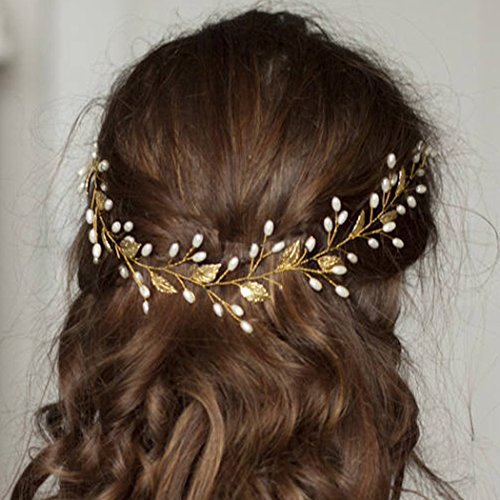 Artio Wedding Hair Vine Accessory Bridal Headpiece for Bride and Bridesmaids (Gold)