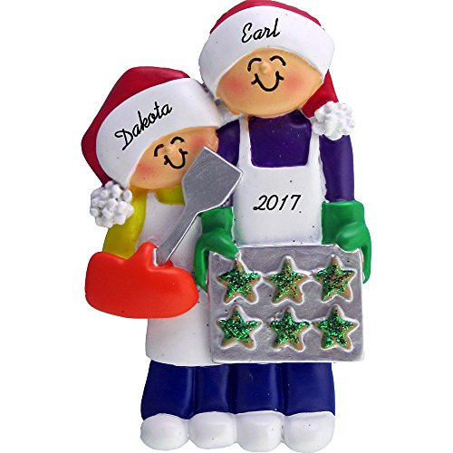 (Calliope Designs Family Baking Cookies Personalized Christmas Ornament (2 People) - 4.25