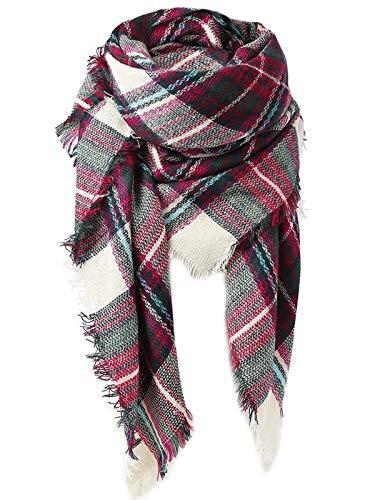 (Zando Soft Warm Tartan Plaid Scarf Shawl Cape Blanket Scarves Fashion Wrap Green Rose…)