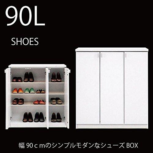 【アウトレット品】 大川家具 シューズボックス SHOES90LシューズBOXホワイト B01MXZTBH1