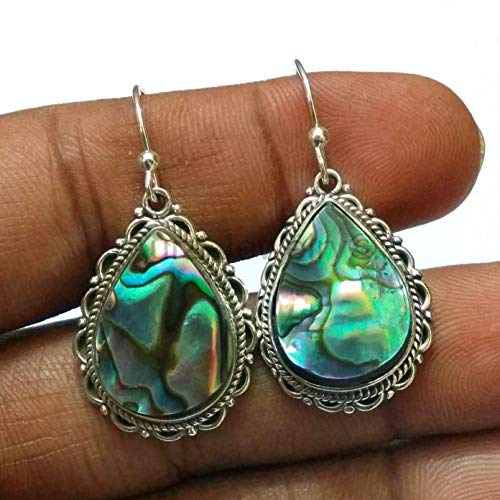 Abalone shell Multi Gemstone Solid 925 Sterling Silver Dangle Drop Earrings for Women & Girls, Mothers Day Gift Jewelry
