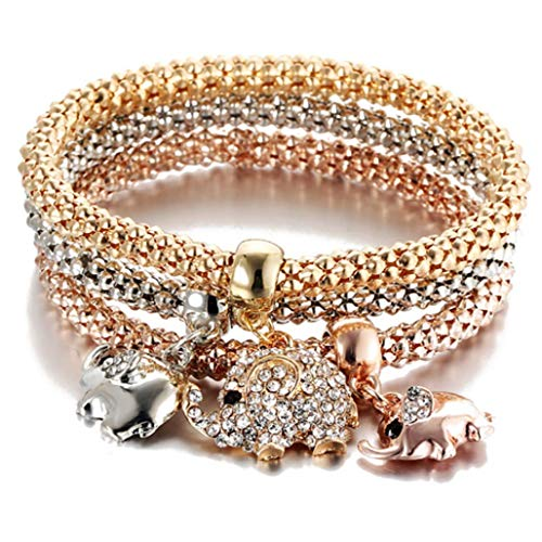 Crystal Diamond Pendant Popcorn Bracelet Crown Stretch Corn Chain Tricolor Bracelet,Elephant