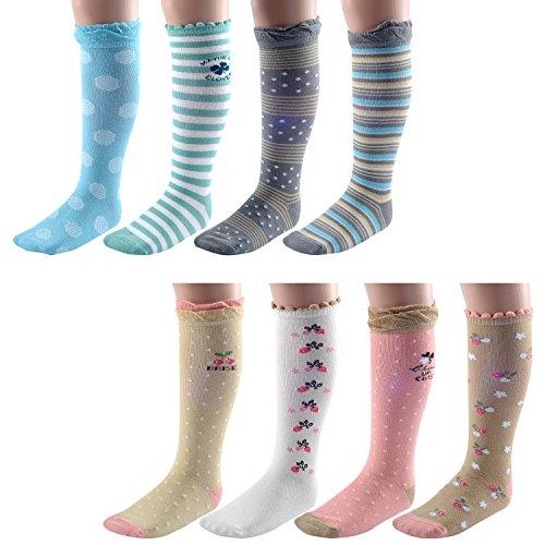 Deer Mum 8 Pairs Girl's Princess Style Knee High Socks (Pack 8)-multicolor4 (M(7Y-12Y)) by Deer Mum